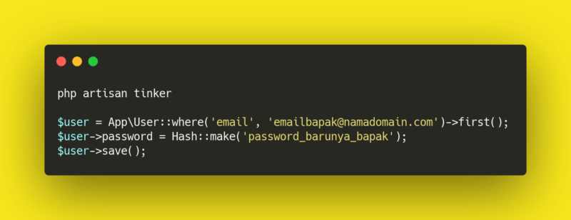 Как изменить пароль пользователя в laravel через ssh