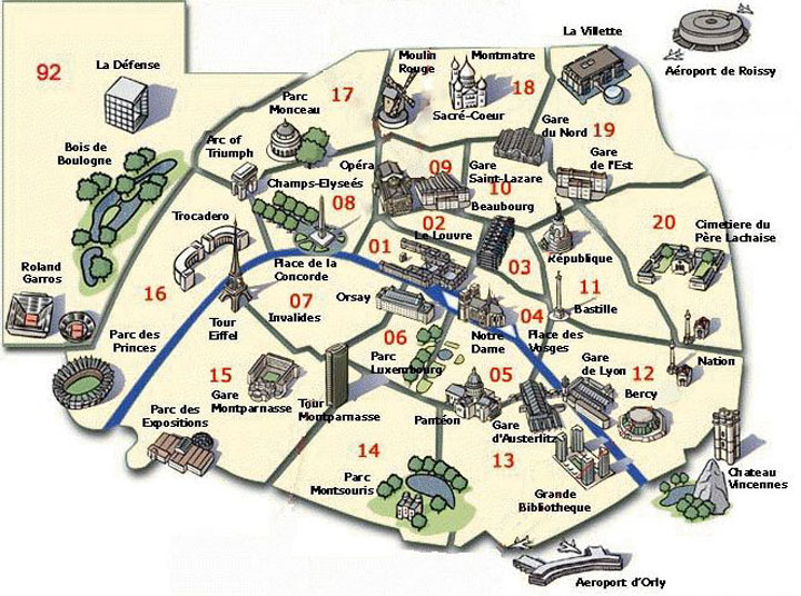 Карта Парижа, где остановиться?